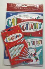 Christmas Colouring Book Pencils x15 Christmas Eve Box Stocking Filler 3 books