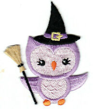 HALLOWEEN WITCH OWL Iron On Patch Broomstick