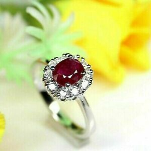 2Ct Oval Cut Red Ruby Halo Women's Engagement Ring 14K White Gold Finish