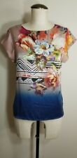 Twelfth street by cynthia vincent Small Petite Floral Silk Top blouse Blue EXC