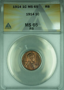 1914 Lincoln Wheat Cent 1c Coin ANACS MS-65 RB Red Brown GEM BU