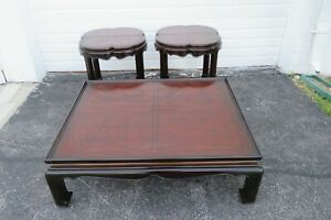 Drexel Heritage Hollywood Regency Carved Coffee Table and Two Side Tables 2349