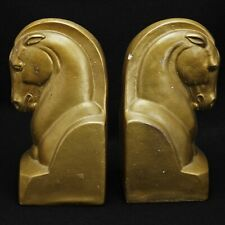 Pair of Art Deco Plaster Horse Head Bookends Circa 1940