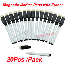20Pcs Black Magnetic Dry Wipe White Board Marker Magnet Pens Built in Eraser New