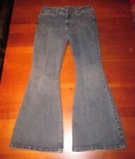 Blue Denim SILVER JEANS CO Rio Jeans Sz 31/33 Low Rise Wide Flare Bell Fringe