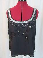 Jones New York Black Silk Embroidery Tank w/Sequence Size 14
