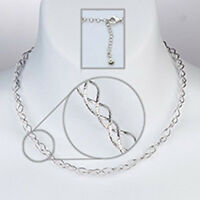 """3 Strand Wave Omega Rhodium Plated .925 Sterling Silver Necklace 16"""" + 2"""" New"""