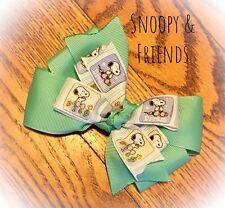 Teal Snoopy Handmade Boutique Hair Bow New