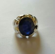 Real Big Kashmir Sapphire Ring Neelam Ring Mens Sapphire Band Natural ink Blue