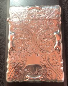 Antique Edwardian Sterling Silver Card Case , 1907, Chester , Walker & Hall