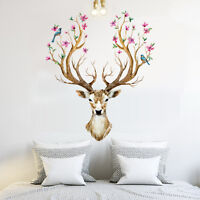 Sika Deer Head Flowers Bird Removable Wall Stickers Vinyl Art Mural Decal Home