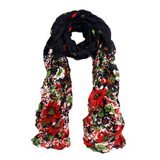 Premium Polka Dot Flower Print Scarf - Different Colors Available