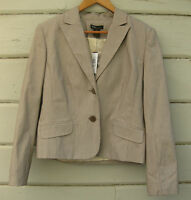 Grace Elements Wm's 10 Brown Cream Twill Pinstripe Blazer Jacket NWT