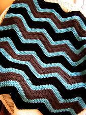 CROCHET chevron wrap shawl handmade afghan blanket baby ripple VANNA BROWN blue