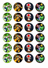 24 assorted Super Mario 4cm round cupcake edible images