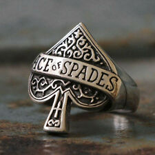 motorhead Biker Ring sterling silver skull ace of spades rock heavy retro men