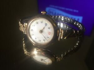 Vintage 9ct gold Ladies bracelet watch (Intact not working)Rolex?