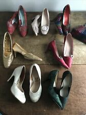 New listing 7 - Pairs 1950s 1960s Women's Shoes Brocade Lace Satin Gold