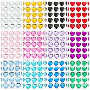 HEARTS Sheet Self Adhesive Craft Diamante Rhinestone Gems Stick on Crystals