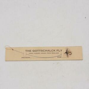 Vintage Gottschalck Handgebundenes Fliegenfischen Köder Auf Karte Hergestellt IN