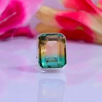 Elegant Bi-Color Tourmaline Gemstone 925 Sterling Silver Handmade Ring All Size