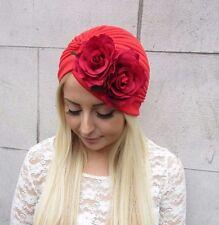 Red Rose Flower Turban Headpiece 1950s Rockabilly 1940s Floral Hair Vintage 2479