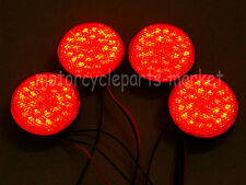 4x Round Reflector RED Lens 12V LED Rear Tail Brake Stop Lights For Third Toyota