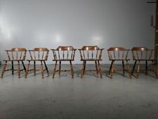 Set of (6) Ethan Allen Early American Solid Maple & Birch Captains Dining Chairs