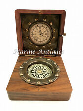 Antique Maritime Brass Compass Vintage Nautical Table Top Decor With Clock w Box