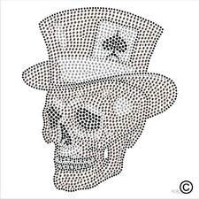 Iron On Rhinestone Transfer ACE SKULL TOP HAT Diamante Hotfix Crystal Motif Gem