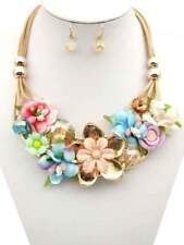 Gold Tone Multi Color Flower Fashion Necklace