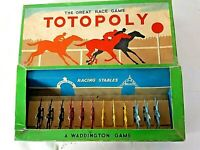 Vintage Totopoly Board Game by John Waddington 1940s  Metal Horses Complete Rare