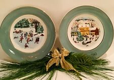 Avon Enoch Wedgwood Collectors Christmas Plate 1975 & 1980:Skaters and Country