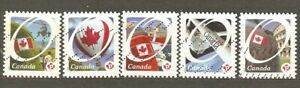 Canada: full set of 5 used stamps, Canadian Flag, 2011, Mi#2691-5