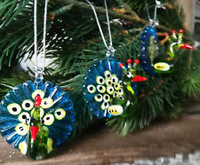 3 x Glasfigur Pfau Peacock Glas Figur Band Türkis Baumschmuck Christbaumkugel