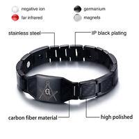 Bracelet de guérison de thérapie magnétique noir fibre de carbone franc-maçon