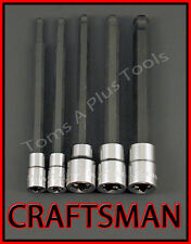 CRAFTSMAN HAND TOOLS 5pc 1/4 3/8 SAE Long Hex Allen key bit ratchet socket set