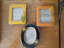 Vintage 3 miniature enamel floral picture frames, two square and oval