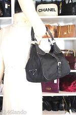 Vintage Prada Nylon Black Hobo Shoulder Bag Italy