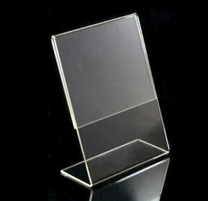 6 Pieces 4 X 6 Inches Acrylic Tabletop Sign Holders Slant Back Picture Frames