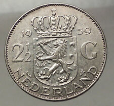 1959 Netherlands Kingdom Queen JULIANA 2½ Gulden Authentic Silver Coin i57773