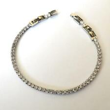 MEN'S WOMEN'S TENNIS BRACELET STAINLESS STEEL WHITE Cubic Zirconia CZ  - 111 V
