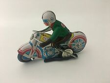 Vintage MS 702 Racing Motorcycle #26 Bike Wind Up Litho Tin Toy WORKS