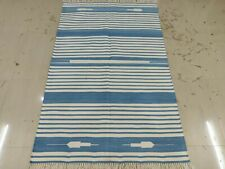 Handwoven Yoga Rug 4'x6' Blue & White Reversible Cotton Dhurrie Flat Weave Kilim