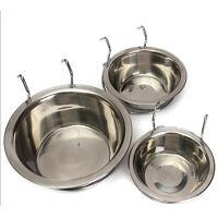 Stainless Steel Bolt On Hook Dog Bowl Bowls Cage Crate Run Pet Cat Rabbit  Uylj