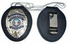 RECESSED BADGE HOLDER With BELT CLIP + NECK CHAIN Concealed Weapons Badge NOT IN