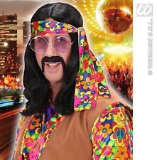 Long Black John Lennon Wig Hippie Hippy 70'S Dude Fancy Dress