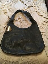 Halston Heritage Black Pebble Leather Hobo Shoulder Bag with Magnetic Closure