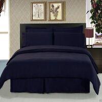 8pc Navy Blue Duvet Cover & Bedroom Comforter AND Microfiber Sheet Set
