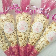20 X Popcorn Filled baby Shower Party Cones Personalised +free Sweety Bag